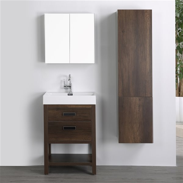 Meuble-lavabo simple brun autoportant par Streamline de 24 po avec comptoir blanc lustré, miroir et lingerie autoportante