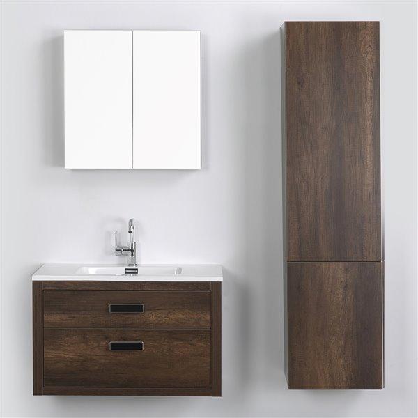 Meuble-lavabo mural simple brun par Streamline de 32 po avec comptoir blanc lustré, miroir et 1 lingerie