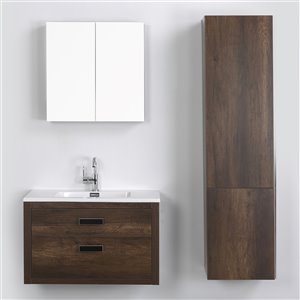 Streamline 32-in Brown Single Sink Floating Bathroom Vanity with Glossy White Top (Mirror and 1 Side Cabinet Included)