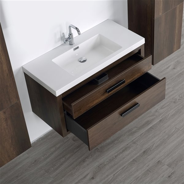 Meuble-lavabo mural simple brun par Streamline de 40 po avec comptoir blanc lustré et 2 armoires