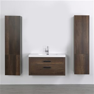 Streamline 40-in Brown Single Sink Floating Bathroom Vanity with Glossy White Top and 2 Side Cabinets Included