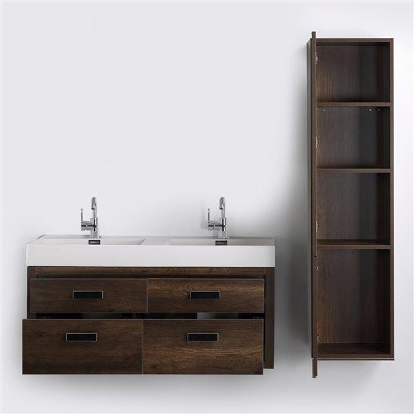 Meuble-lavabo mural double brun par Streamline de 48 po avec comptoir blanc lustré et 1 lingerie