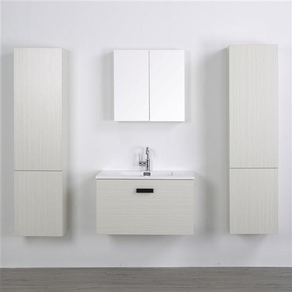Meuble-lavabo mural simple gris cendré  par Streamline de 32 po avec comptoir blanc lustré, miroirs et 2 lingeries murales