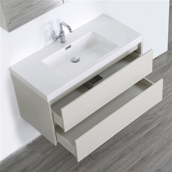 Meuble-lavabo mural/flottant simple gris cendré par Streamline de 40 po avec comptoir blanc lustré et 1 miroir