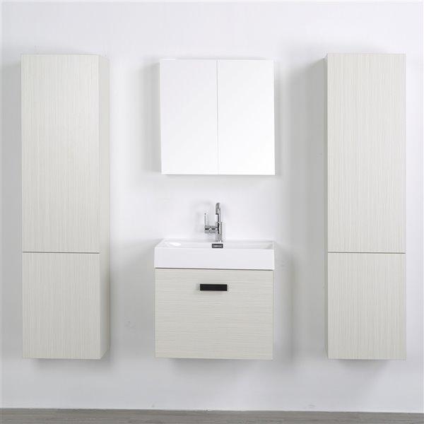 Meuble-lavabo mural simple gris cendré par Streamline de 24 po avec comptoir blanc lustré, 1 miroir et 2 lingeries inclus