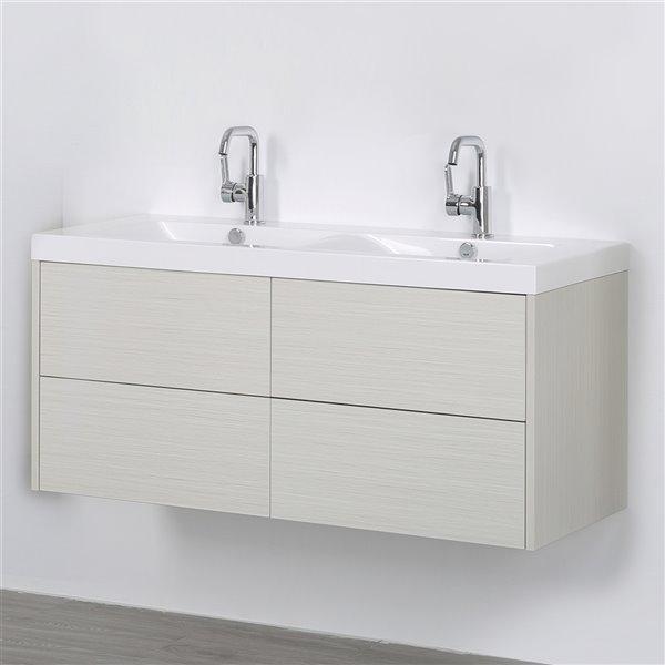 Meuble-lavabo mural simple gris cendré par Streamline de 48 po avec comptoir blanc lustré