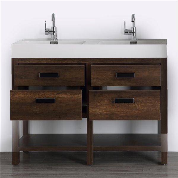 Meuble-lavabo double brun autoportant par Streamline de 48 po avec comptoir blanc lustré