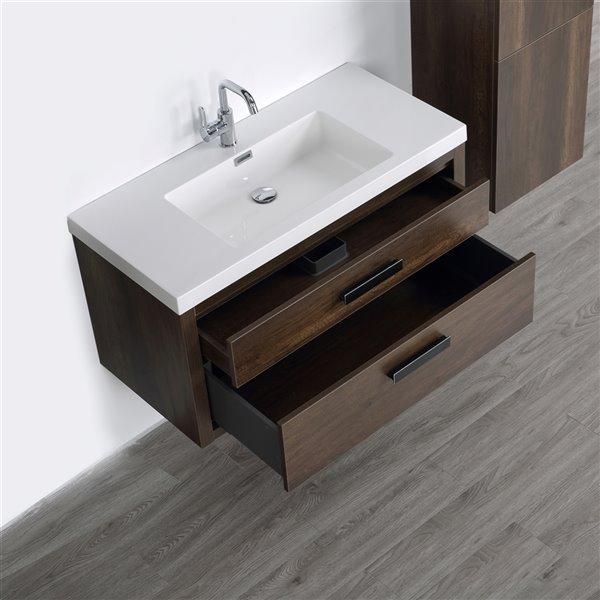 Meuble-lavabo mural simple brun par Streamline de 40 po avec comptoir blanc lustré et 1 armoire