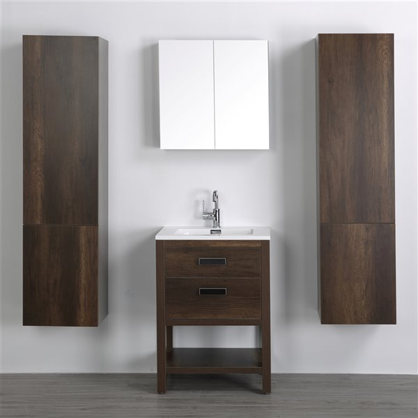 Meuble-lavabo simple brun autoportant par Streamline de 24 po avec comptoir blanc lustré, miroir et 2 lingeries