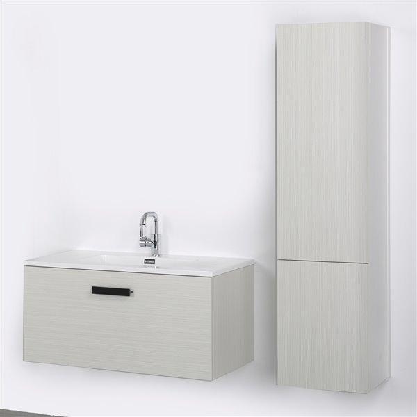 Meuble-lavabo mural simple gris cendré par Streamline de 40 po avec comptoir blanc et 1 lingerie