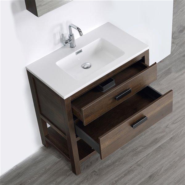 Meuble-lavabo simple brun autoportant par Streamline de 32 po avec comptoir blanc et 1 miroir inclus