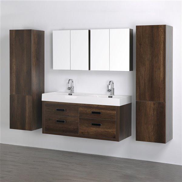 Meuble-lavabo mural double brun par Streamline de 48 po avec comptoir blanc lustré, miroir et 2 lingeries