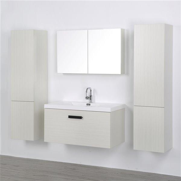 Meuble-lavabo mural simple gris cendré par Streamline de 40 po avec comptoir blanc lustré, 1 miroir et 2 lingeries