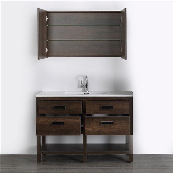 Meuble-lavabo simple brun autoportant par Streamline de 48 po avec comptoir blanc lustré, 2 tiroirs et 1 miroir