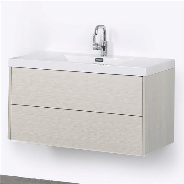 Meuble-lavabo mural simple gris cendré par Streamline de 40 po avec comptoir blanc