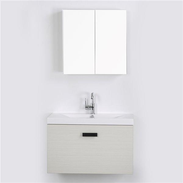 Meuble-lavabo mural simple gris cendré par Streamline de 32 po avec comptoir blanc et 1 miroir inclus