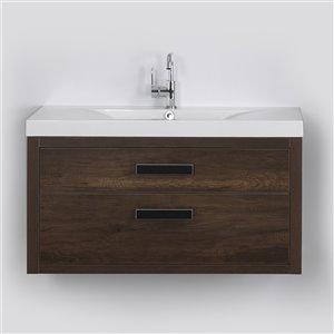 Meuble-lavabo mural simple brun par Streamline de 40 po avec comptoir blanc lustré