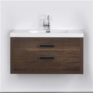 Meuble-lavabo mural simple brun par Streamline de 40 po avec comptoir blanc