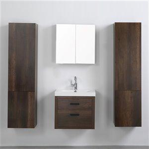 Meuble-lavabo mural simple brun par Streamline de 24 po avec comptoir blanc lustré, miroir et 2 lingeries murales