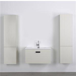 Meuble-lavabo mural simple gris cendré  par Streamline de 32 po avec comptoir blanc lustré et 2 lingeries