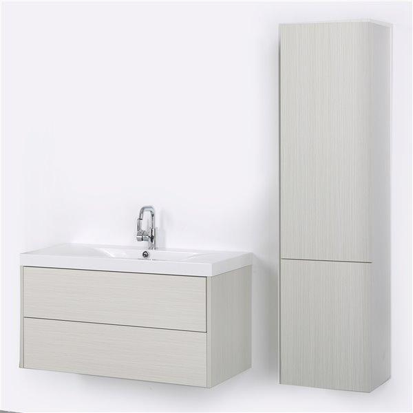 Meuble-lavabo mural simple gris cendré par Streamline de 40 po avec comptoir blanc lustré et 1 lingerie murale