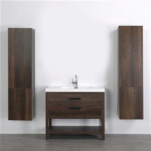 Meuble-lavabo simple brun autoportant par Streamline de 40 po avec comptoir blanc lustré et 2 armoires