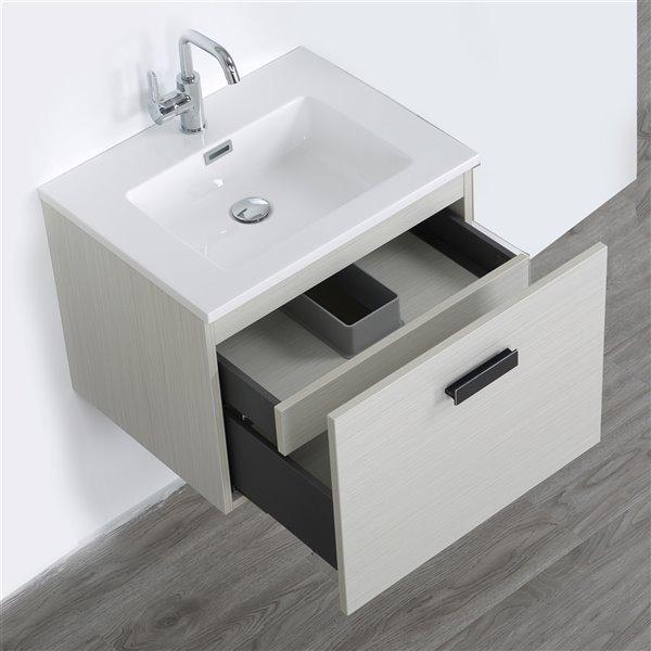 Meuble-lavabo mural simple gris cendré par Streamline de 24 po avec comptoir blanc lustré inclus