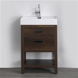 Meuble-lavabo simple brun autoportant par Streamline de 24 po avec comptoir blanc lustré et 2 tiroirs de rangement
