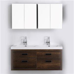 Meuble-lavabo mural double brun par Streamline de 48 po avec comptoir blanc lustré et 2 miroirs