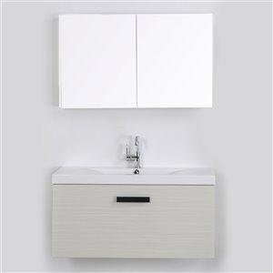 Meuble-lavabo mural simple gris cendré par Streamline de 40 po avec comptoir blanc et 1 miroir inclus