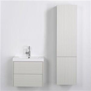 Meuble-lavabo mural simple gris cendré  par Streamline de 24 po avec comptoir blanc lustré et lingerie