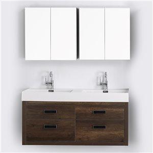 Meuble-lavabo mural double brun par Streamline de 48 po avec comptoir blanc lustré et 1 miroir