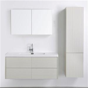 Meuble-lavabo mural simple gris cendré  par Streamline de 48 po avec comptoir blanc lustré, lingerie et miroir inclus