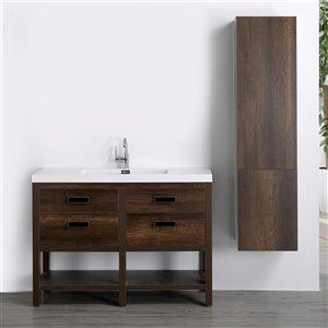 Meuble-lavabo simple brun autoportant par Streamline de 48 po avec comptoir blanc lustré et 1 armoire