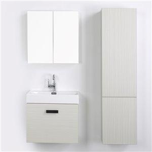 Meuble-lavabo mural simple gris cendré par Streamline de 24 po avec comptoir blanc lustré (1 miroir et 1 lingerie)