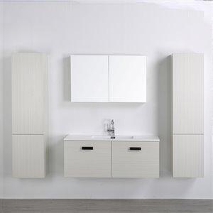 Meuble-lavabo mural simple gris cendré par Streamline de 48 po avec comptoir blanc, 1 miroir et 2 lingeries