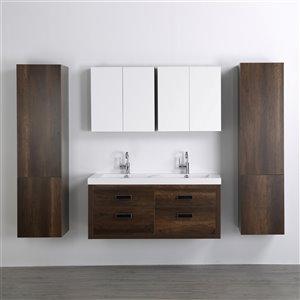 Meuble-lavabo mural double brun par Streamline de 48 po avec comptoir blanc lustré, 2 miroirs et 2 lingeries