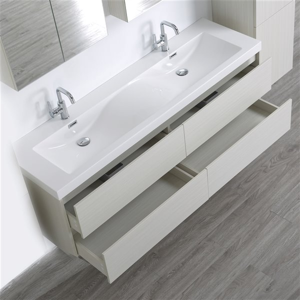 Meuble-lavabo mural double gris cendré  par Streamline de 63 po avec comptoir blanc lustré, 2 miroirs et 1 lingerie murale