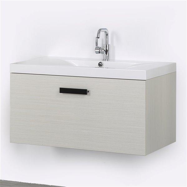 Meuble-lavabo mural simple gris cendré  par Streamline de 40 po avec comptoir blanc lustré et 1 tiroir