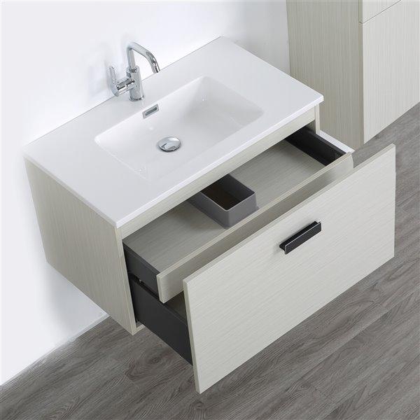 Meuble-lavabo mural simple gris cendré par Streamline de 32 po avec comptoir blanc lustré et 1 lingerie incluse