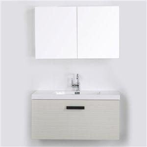 Meuble-lavabo mural simple gris cendré par Streamline de 40 po avec comptoir blanc lustré et 1 miroir inclus