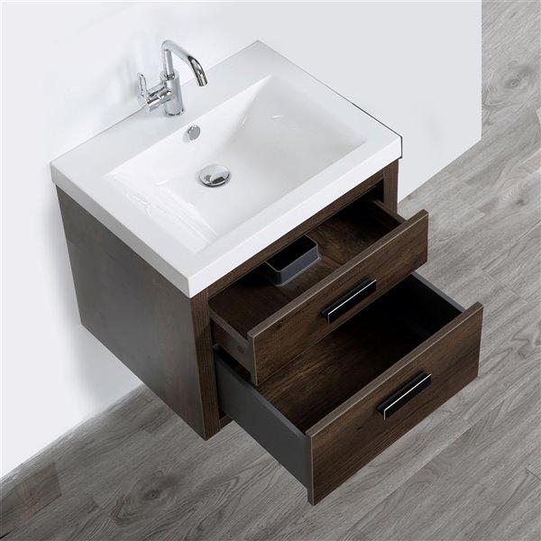 Meuble-lavabo mural simple brun par Streamline de 24 po avec comptoir blanc lustré