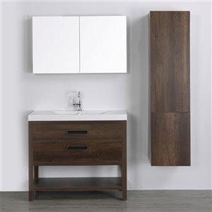 Meuble-lavabo simple brun autoportant par Streamline de 40 po avec comptoir blanc lustré, miroir et 1 armoire