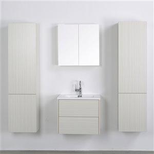 Meuble-lavabo mural simple gris cendré  par Streamline de 24 po avec comptoir blanc lustré, miroir et 2 lingeries murales