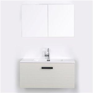 Meuble-lavabo mural simple gris cendré par Streamline de 40 po avec comptoir blanc, 1 miroir et 1 lingerie