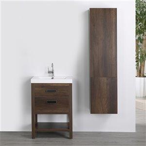 Meuble-lavabo simple brun autoportant par Streamline de 24 po avec comptoir blanc lustré et 1 lingerie