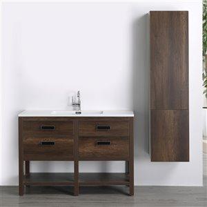 Meuble-lavabo simple brun autoportant par Streamline de 48 po avec comptoir blanc lustré, 2 tiroirs et 1 lingerie