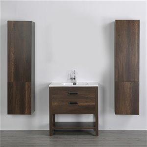 Meuble-lavabo simple brun autoportant par Streamline de 32 po avec comptoir blanc lustré et 2 lingeries