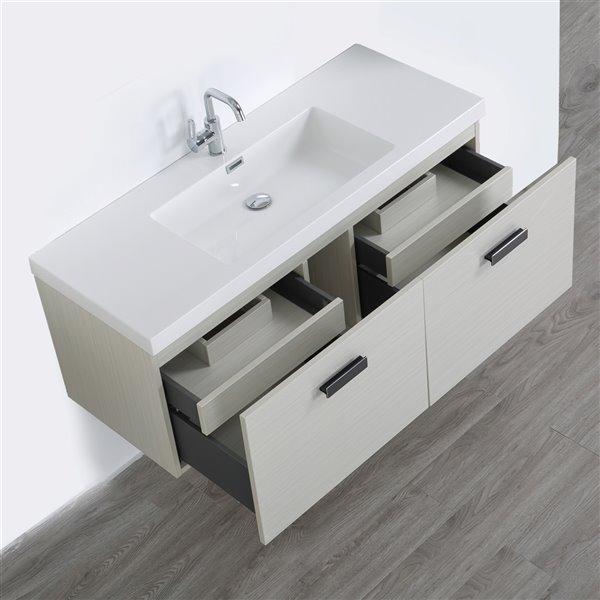 Meuble-lavabo mural simple, gris cendré  par Streamline de 48 po avec comptoir blanc lustré et 2 tiroirs
