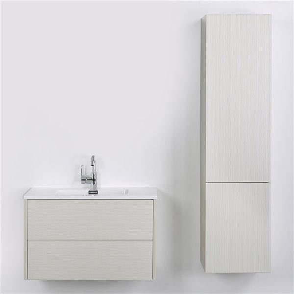 Meuble-lavabo mural simple gris cendré  par Streamline de 32 po avec comptoir blanc lustré et 1 armoire murale